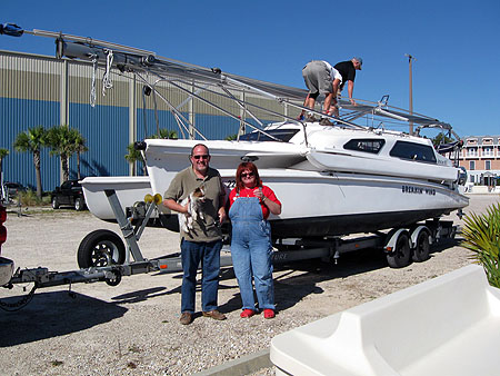 Steve and Mittie with new boat
